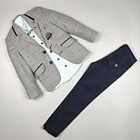 Костюм тройка коричневый пиджак рубашка узкие брюки оптом для мальчика 6-10 лет Турция 483-11