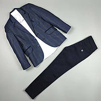 Костюм тройка синий пиджак в клетку, рубашка , узкие брюки оптом для мальчика 6-10 лет Турция 483-09