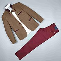 Костюм тройка горчичный пиджак рубашка узкие брюки оптом для мальчика 7-10 лет Турция 1665