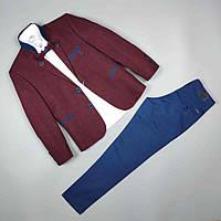 Костюм тройка бордо пиджак рубашка узкие брюки оптом для мальчика 7-10 лет Турция 1665