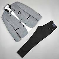 Костюм тройка серый пиджак рубашка узкие брюки оптом для мальчика 7-10 лет Турция 1665