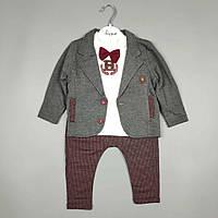 Комплект красный+серый детский тройка оптом для мальчика 6-18 месяцев Турция 1155