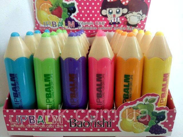 Гигиеническая помада для губ Baolishi Dream Crayons фруктовая с витаминами С и Е В097 24 шт