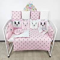 Комплект бортиков и постельного в кроватку с игрушками и облаком в нежно-розовых тонах, фото 1
