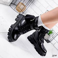 Ботинки женские черные, зимние из эко кожи. Черевики жіночі теплі чорні з еко шкіри, фото 2