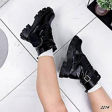 Ботинки женские черные, зимние из эко кожи. Черевики жіночі теплі чорні з еко шкіри, фото 3