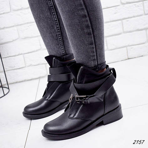 Ботинки женские черные, демисезонные из эко кожи. Черевики жіночі чорні з еко шкіри утеплені, фото 2