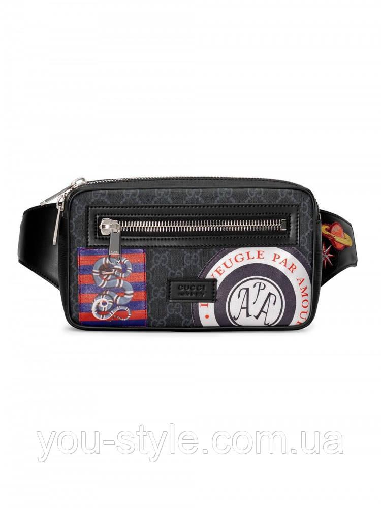 Поясная сумка Gucci из GG Supreme Night Courrier Black