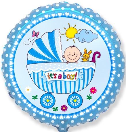 "Фол шар Flexmetal 18"" Круг It's a boy Мальчик в коляске Голубой (ФМ)"