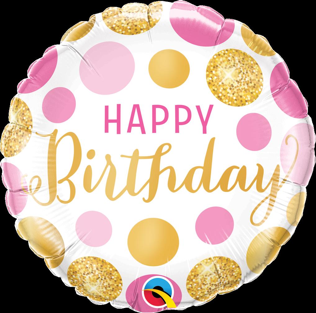 "Круг 18"" QUALATEX-КВ Happy Birthday - нежные пузырьки (УП)"