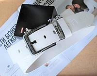 Мужской кожаный ремень Levis для джинсов белый, фото 1