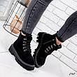 Ботинки женские черные, зимние из эко замши. Черевики жіночі теплі чорні з еко замші, фото 6