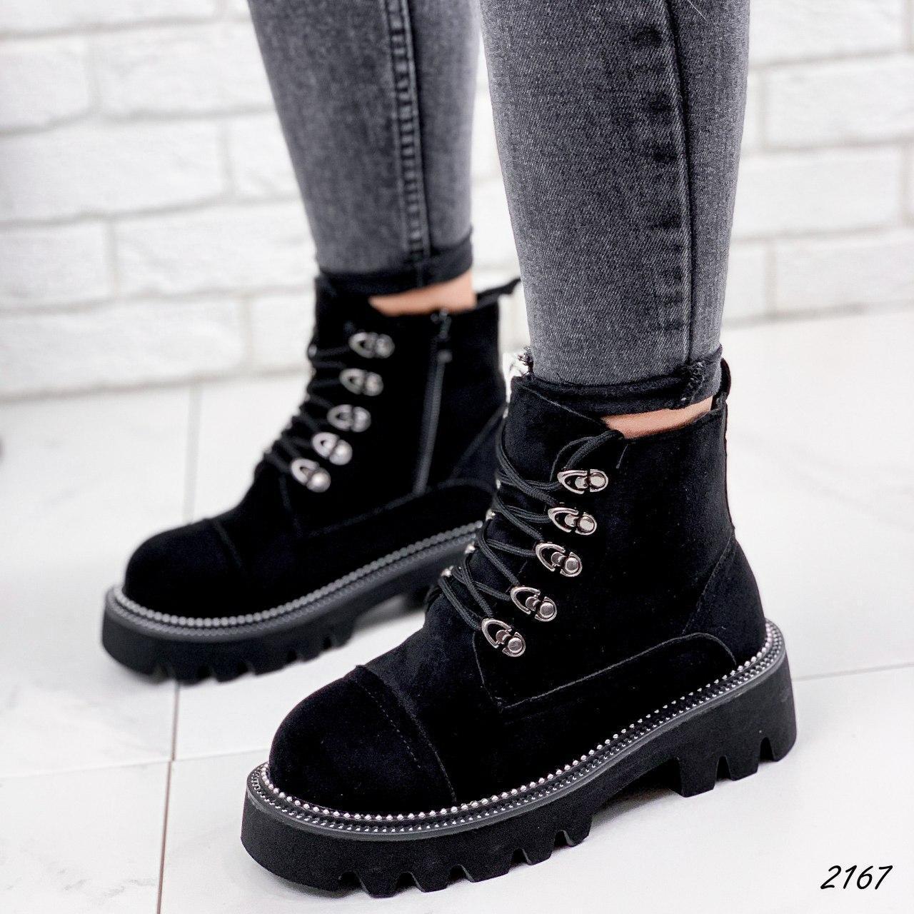 Ботинки женские черные, зимние из эко замши. Черевики жіночі теплі чорні з еко замші