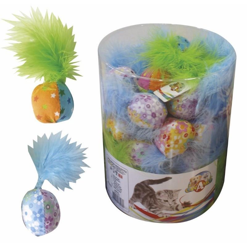 Игрушка для котов CROCI. Мяч цветной с пером 4 см