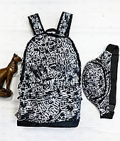 Комплект (рюкзак+бананка) Сalligraphy white, фото 1