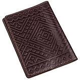 Кожаная обложка на паспорт с ромбами SHVIGEL 13974 Коричневая, фото 2
