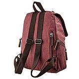 Компактный женский текстильный рюкзак Vintage 20195 Малиновый, фото 2