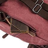 Компактный женский текстильный рюкзак Vintage 20195 Малиновый, фото 5