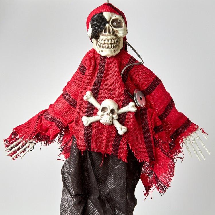 Подвесной Скелет Пират с мигающими глазами и со звуком на Хэллоуин 35 см