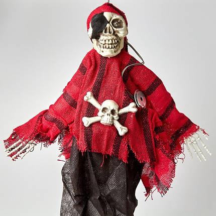 Подвесной Скелет Пират с мигающими глазами и со звуком на Хэллоуин 35 см, фото 2