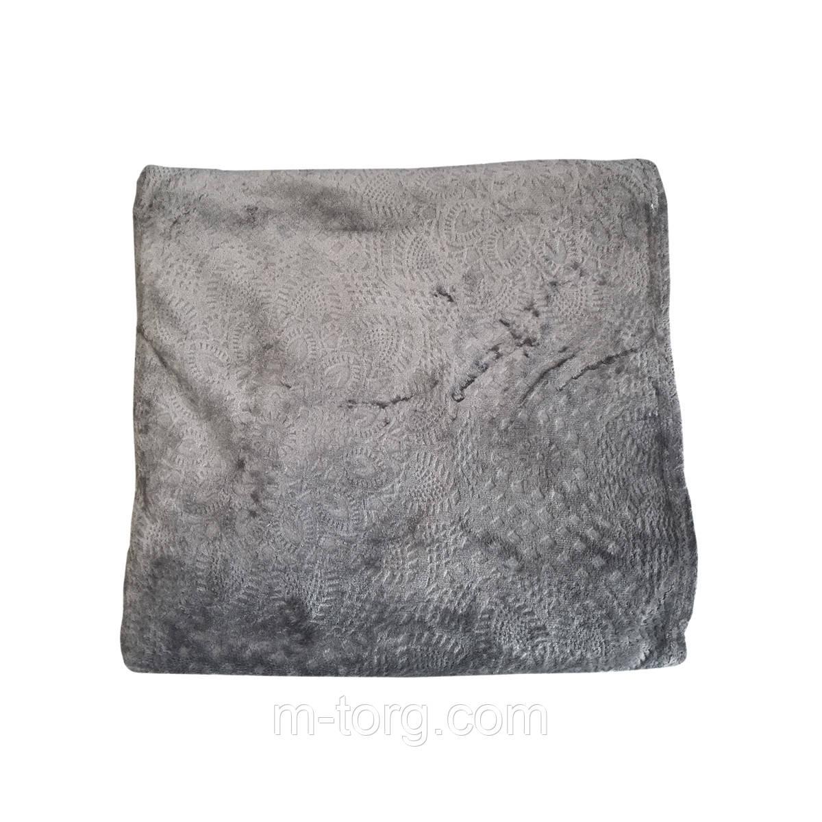 """""""серый"""" плед двуспальный 180/220, микрофибра"""