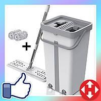 Ведро с отжимом и шваброй Scratch Cleaning Mop серо-белая, (ведро: 35х17х19) плоская швабра, фото 1