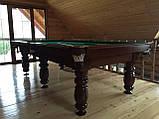 Бильярдный стол для пула КЛАССИК 2 ЛЮКС 9 футов Ардезия 2.6 м х 1.3 м из натурального дерева, фото 5