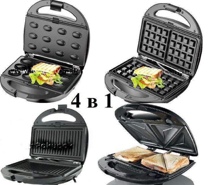 Сендвичница мультипекарь 4в1 GrandHoff GT-780 1200W 4 в 1 сендвичница-гриль-вафельница, орешница