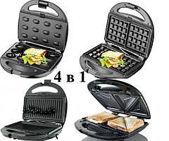 Сендвичница мультипекарь 4в1 GrandHoff GT-780 1200W 4 в 1 сендвичница-гриль-вафельниця, горішниця
