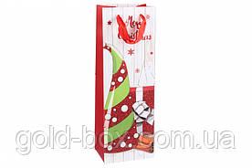 Пакеты для бутылки новогодние с глиттером 12шт (4 вида)