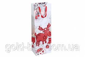 Бутылочные пакеты новогодние с глиттером 12шт (4 вида)