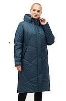 Изумрудное женское зимнее пальто батал с 52 по 70 размер