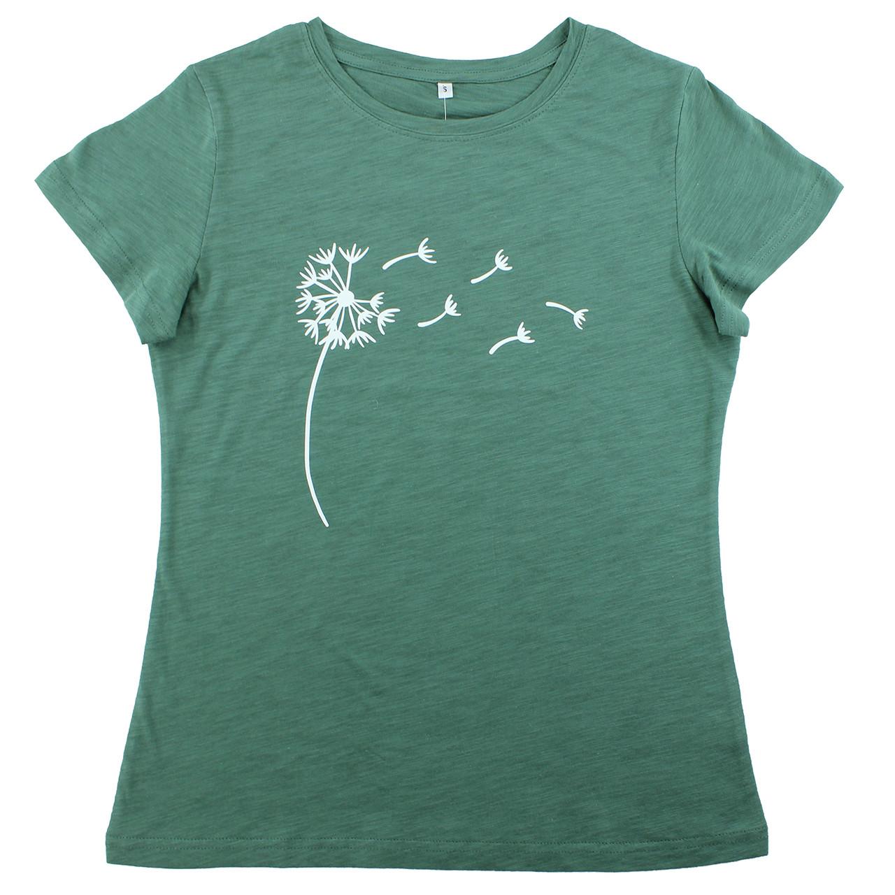 Жіноча футболка з принтом кульбаби бавовняна модна футболка річна зелена Кульбаба
