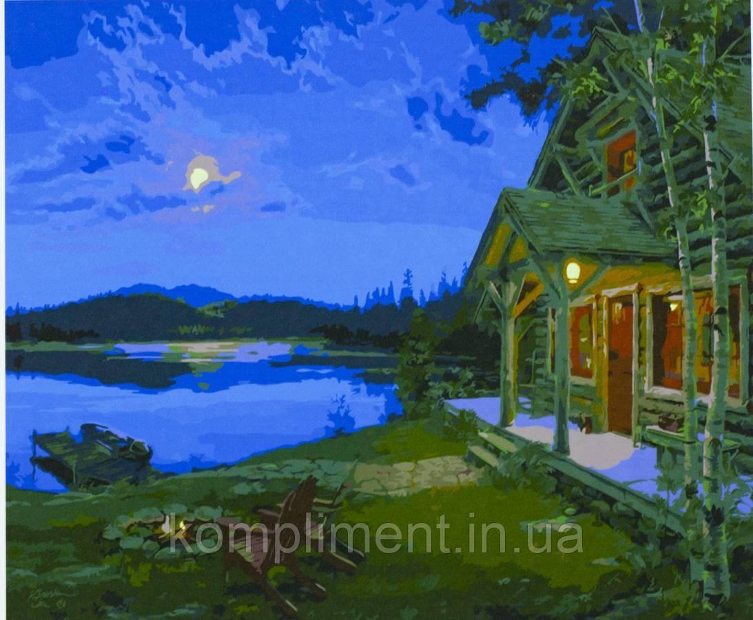 """Картина по номерам  красками """"Домик у озера"""" 40*50 см, краски - акрил"""