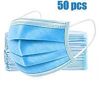 Одноразові медичні маски 50 шт. 3-х шарові, сині, захисні маски з доставкою по Україні
