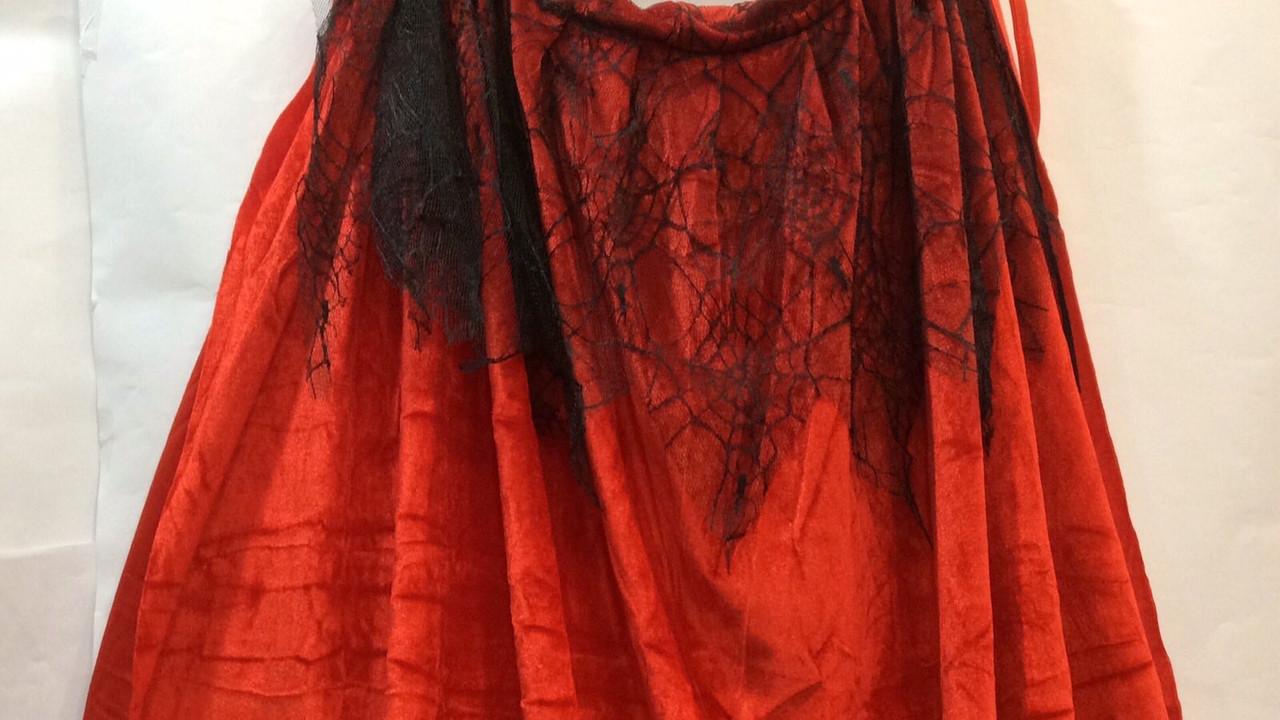 Плащ велюровый красный с капюшоном 104 см