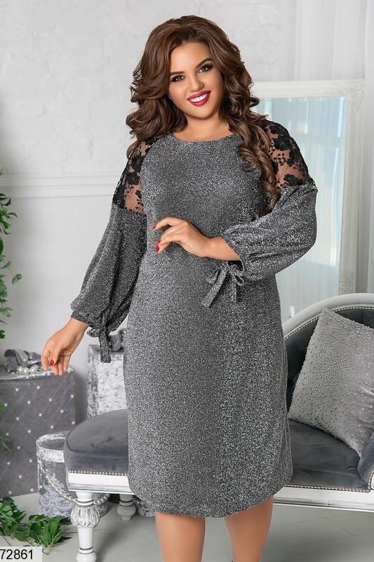 Р. 48-66 Женское вечернее платье из люрекса большие размеры