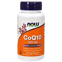 Коэнзим Q10 200 мг, CoQ10, Now Foods, 60 вегетарианских капсул