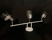 Потолочная люстра белая на 3 лампы с поворотными плафонами, фото 1