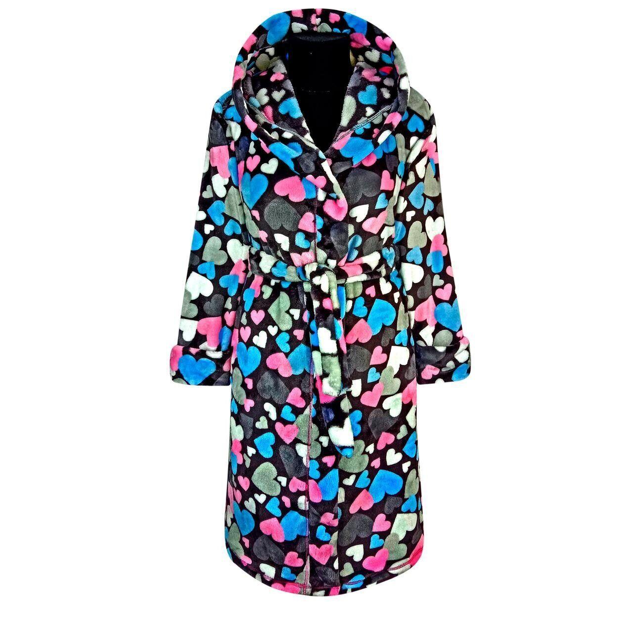 Махровый халат  для девочки  в сердечках с 36 по 46 размер