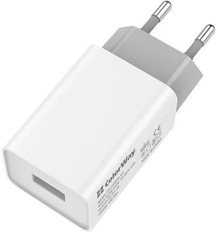 Мережевий зарядний пристрій ColorWay AutoID 1USBx2A White (CW-CHS012-WT)