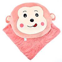 Детская плюшевая игрушка плед Обезьянка, игрушка-трансформер покрывало розовое в детскую 180x110см