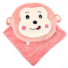 Дитяча плюшева іграшка плед Мавпочка, іграшка-трансформер покривало рожеве у дитячу 180х110см
