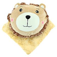 Детская плюшевая игрушка трансформер с пледик, покрывало в детскую бежевое 180x110см