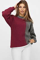 Свитер женский вязаный двухцветный серый/фуксия 44-48 Теплые женские свитера недорого, фото 1