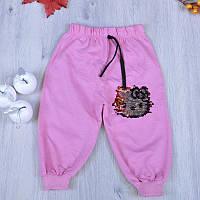 Детские спортивные штаны декорированные рисунком с из пайеток-перевертышей для девочки 1-4 лет (4 ед в уп),