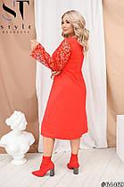Восхитительное платье со вставками сетки флока, фото 3