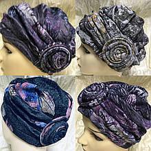 Женская мини  шапка в тёмных тонах с розой  на резинке
