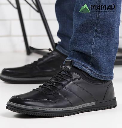 Кожаные мужские кроссовки на резинке, фото 2