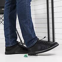Кожаные мужские кроссовки на резинке, фото 3